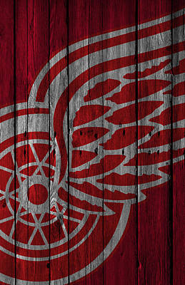 Hockey Painting - Detroit Red Wings Wood Fence by Joe Hamilton