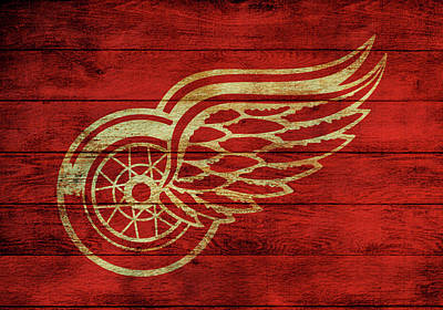 Old Barns Mixed Media - Detroit Redwings Barn Door by Dan Sproul
