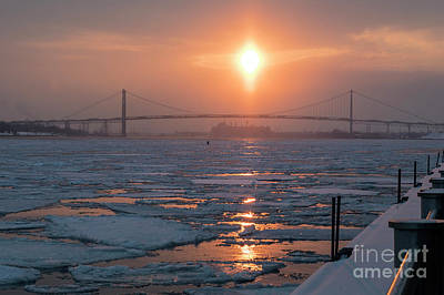 Photograph - Detroit River Sunset by Jim West