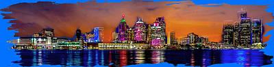Digital Art - Detroit Skyline At Night by Rod Jellison