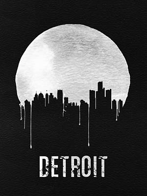 Detroit Skyline Black Art Print by Naxart Studio