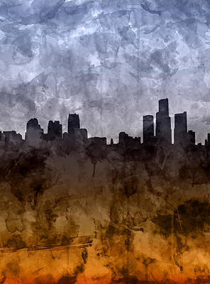 Painting - Detroit Skyline Grunge by Bekim Art