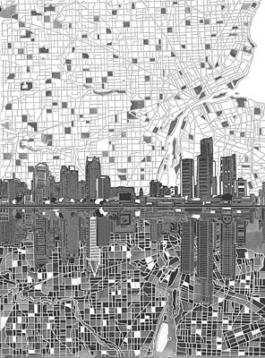 Abstract Skyline Paintings - Detroit Skyline Map 5 by Bekim M