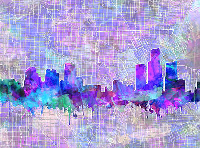 Painting - Detroit Skyline Map 6 by Bekim Art