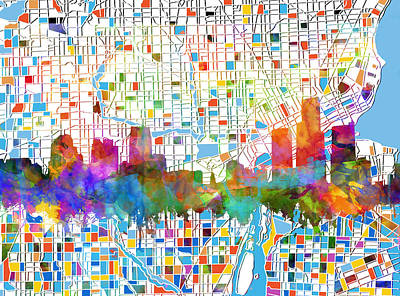 Painting - Detroit Skyline Map 7 by Bekim Art