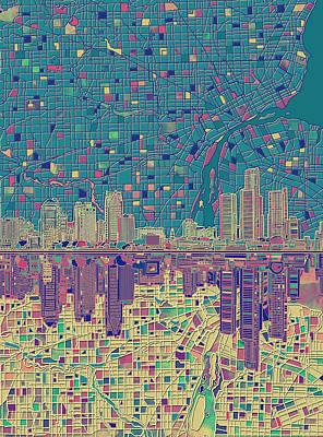 Painting - Detroit Skyline Map by Bekim Art
