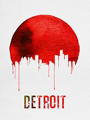Detroit Skyline Red Art Print by Naxart Studio