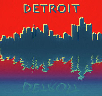 Mixed Media - Detroit Skyline Reflection by Dan Sproul