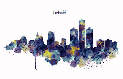 Skylines Mixed Media - Detroit Skyline Silhouette by Marian Voicu