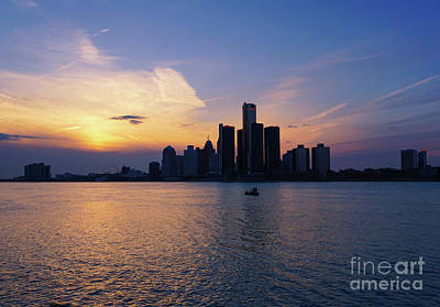 Photograph - Detroit Skyline Sunset 1 by Rachel Cohen