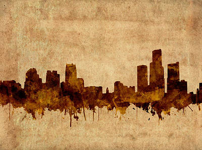 Painting - Detroit Skyline Vintage Grunge by Bekim Art