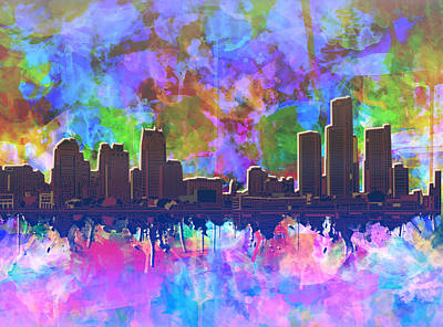 Painting - Detroit Skyline Watercolor 1 by Bekim Art