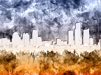 Painting - Detroit Skyline Watercolor 2 by Bekim Art