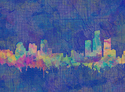 Painting - Detroit Skyline Watercolor Blue 3 by Bekim Art