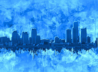 Painting - Detroit Skyline Watercolor Blue 4 by Bekim Art