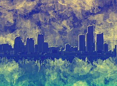 Painting - Detroit Skyline Watercolor Blue 5 by Bekim Art