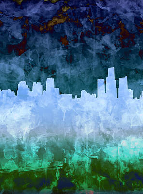 Painting - Detroit Skyline Watercolor Blue 6 by Bekim Art