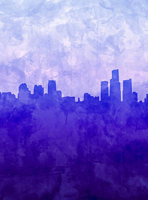 Painting - Detroit Skyline Watercolor Blue 7 by Bekim Art