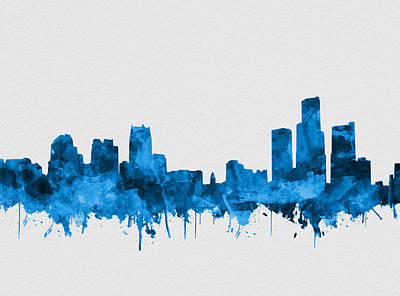 Painting - Detroit Skyline Watercolor Blue 8 by Bekim Art