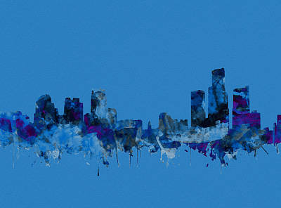 Painting - Detroit Skyline Watercolor Blue by Bekim Art