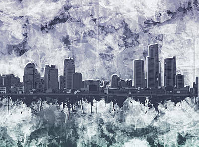 Painting - Detroit Skyline Watercolor Grunge by Bekim Art