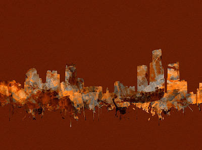 Painting - Detroit Skyline Watercolor Sepia by Bekim Art