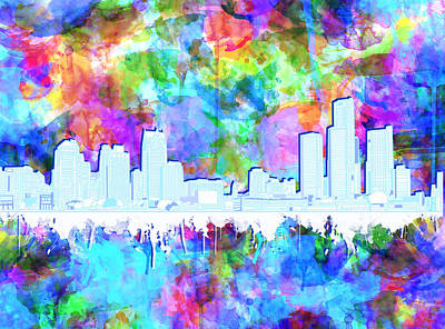 Painting - Detroit Skyline Watercolor Vibrant by Bekim Art