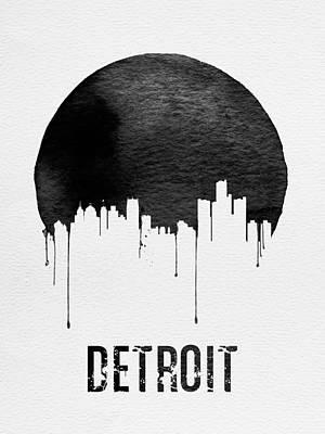 Detroit Skyline White Art Print by Naxart Studio