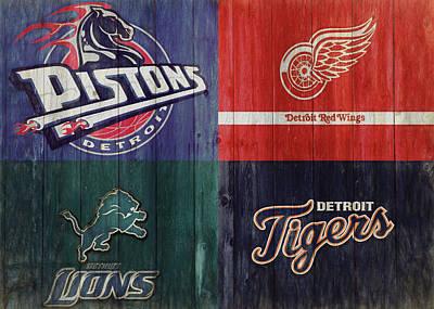 Mixed Media - Detroit Sports Teams Rustic Wood by Dan Sproul