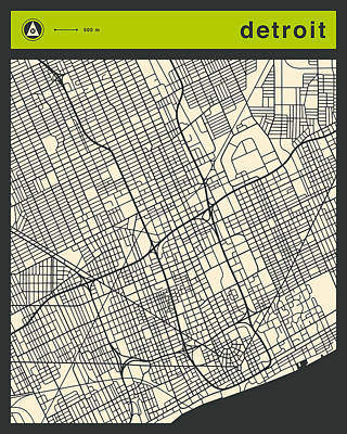 Detroit Street Map Art Print by Jazzberry Blue
