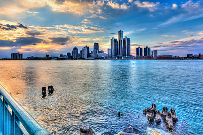 Travel - Detroit Sunset from Windsor by Cindy Lindow