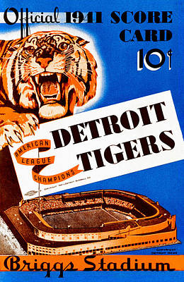 Detroit Tigers 1941 Scorecard Art Print by Big 88 Artworks