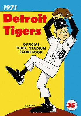 Detroit Tigers Painting - Detroit Tigers 1971 Scorebook by Big 88 Artworks