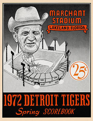 Detroit Tigers Painting - Detroit Tigers 1972 Spring Scorebook by Big 88 Artworks