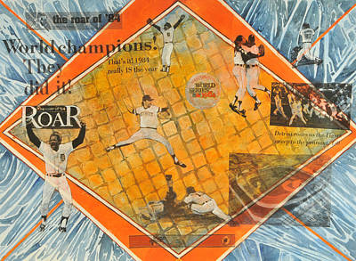 Detroit Tigers Mixed Media - Detroit Tigers 1984 Penant by Martha Zausmer paul