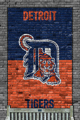 Baseball Painting - Detroit Tigers Brick Wall by Joe Hamilton
