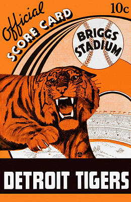Detroit Tigers Art Painting - Detroit Tigers Briggs Stadium Vintage Scorecard by Big 88 Artworks