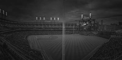 Photograph - Detroit Tigers Comerica Park 2pano1 Bw by David Haskett II