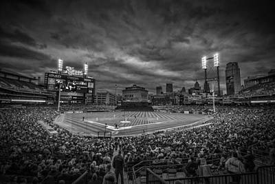 Photograph - Detroit Tigers Comerica Park Black White Creative 4942 by David Haskett II