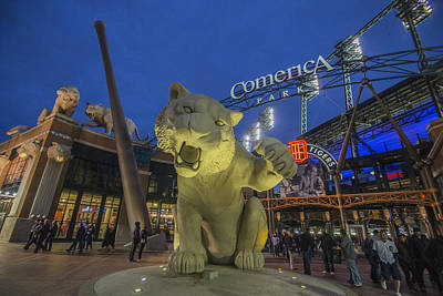 Detroit Tigers Comerica Park Front Gate Tiger Art Print by David Haskett