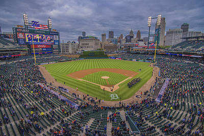 Photograph - Detroit Tigers Comerica Park National Anthem  by David Haskett