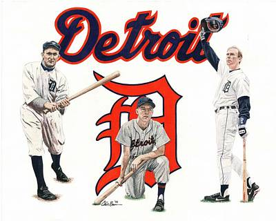 Mixed Media - Detroit Tigers Legends by Chris Brown