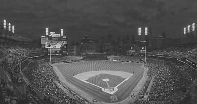Photograph - Detroit Tigers Pano Creative Bw by David Haskett II