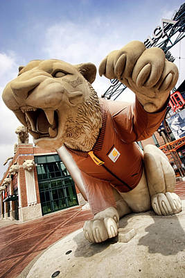 Stadium Digital Art - Detroit Tigers Tiger Statue Outside Of Comerica Park Detroit Michigan by Gordon Dean II