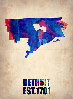 Modern Poster Painting - Detroit Watercolor Map by Naxart Studio