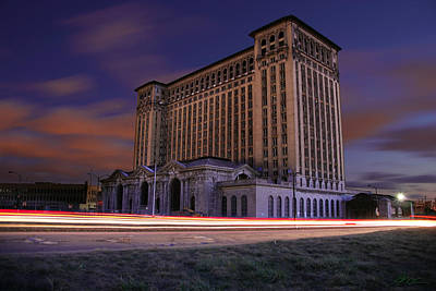 Light Paint Photograph - Detroit's Abandoned Michigan Central Station by Gordon Dean II