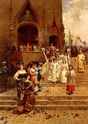 Procession Digital Art - Detti Cesare Auguste The Confirmation Procession by Cesare Auguste Detti