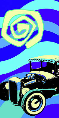 Digital Art - Deuce Coupe Blue by Larry Hunter
