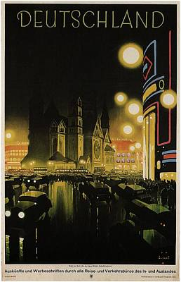 Painting - Deutschland Vintage Travel Poster - Black And Yellow by Studio Grafiikka