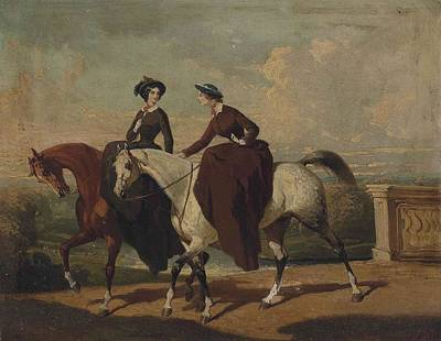 Women On Horses Painting - Deux Amazones Au Cheval by MotionAge Designs
